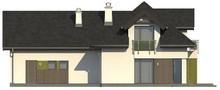 Проект особняка с интересными окнами и гаражом на два авто