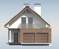 Проект дома для узкого участка с удобной террасой над гаражом