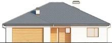 Проект одноэтажного коттеджа с выступающим фронтальным гаражом