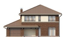 Проект двухэтажного дома с пристроенным гаражом для 1-го автомобиля