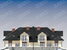 Проект шикарного особняка на две семьи с двумя террасами