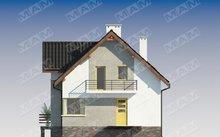 Экономный проект домика с мансардой и цокольным этажом