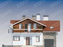 Дом с мансардой с практичной планировкой и оригинальным фасадом