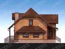 Проект мансардного коттеджа с деревянной отделкой фасада