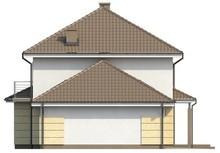 Двухэтажный загородный особняк с гаражом и многоскатной кровлей