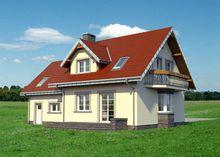 Оригинальный проект в классическом стиле дома с мансардой