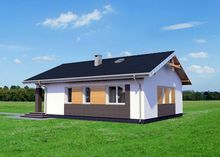 Архитектурный проект небольшого особняка с верандой и крыльцом