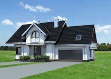 Современный загородный дом с большой террасой и гаражом на два автомобиля