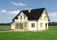 Загородный особняк в классическом колониальном стиле с крыльцом