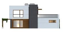Проект хай-тек коттеджа с террасой и гаражом для 2 авто