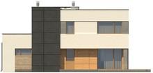 Двухэтажный коттедж с гаражом и террасой в стиле модерна