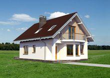 Проект оригинального коттеджа с балконом и мансардой