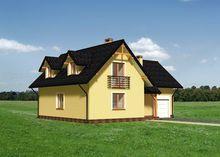 Проект симпатичного загородного особняка с гаражом и простым балконом