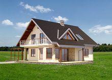 Красивый загородный дом с большой террасой и балконом