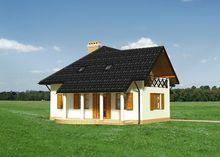 Дом Г-образной формы с мансардой
