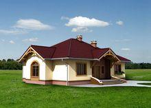 1 этажный дом с оригинальной многоскатной крышей