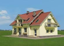 Интересный проект 1,5-этажного небольшого особняка с частично кирпичным фасадом