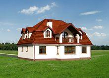 Двухэтажный привлекательный дом с кровлей сложной формы