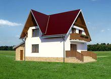 Архитектурный проект дома с мансардой площадью 140 m² с гаражом