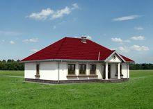 Одноэтажный дом с колоннами на крыльце