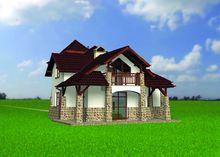 Красивый двухэтажный дом с декором из камня