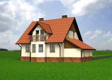 Проект жилого дома с гаражом и эркером