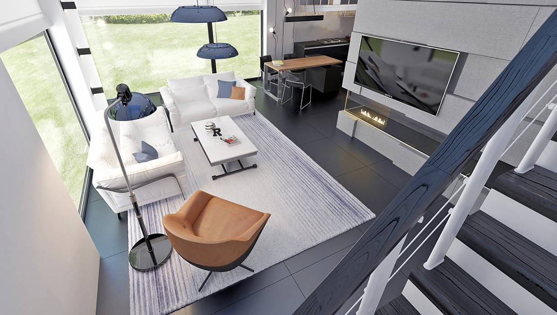 Проект двухэтажного дома с плоской крышей и просторной террасой