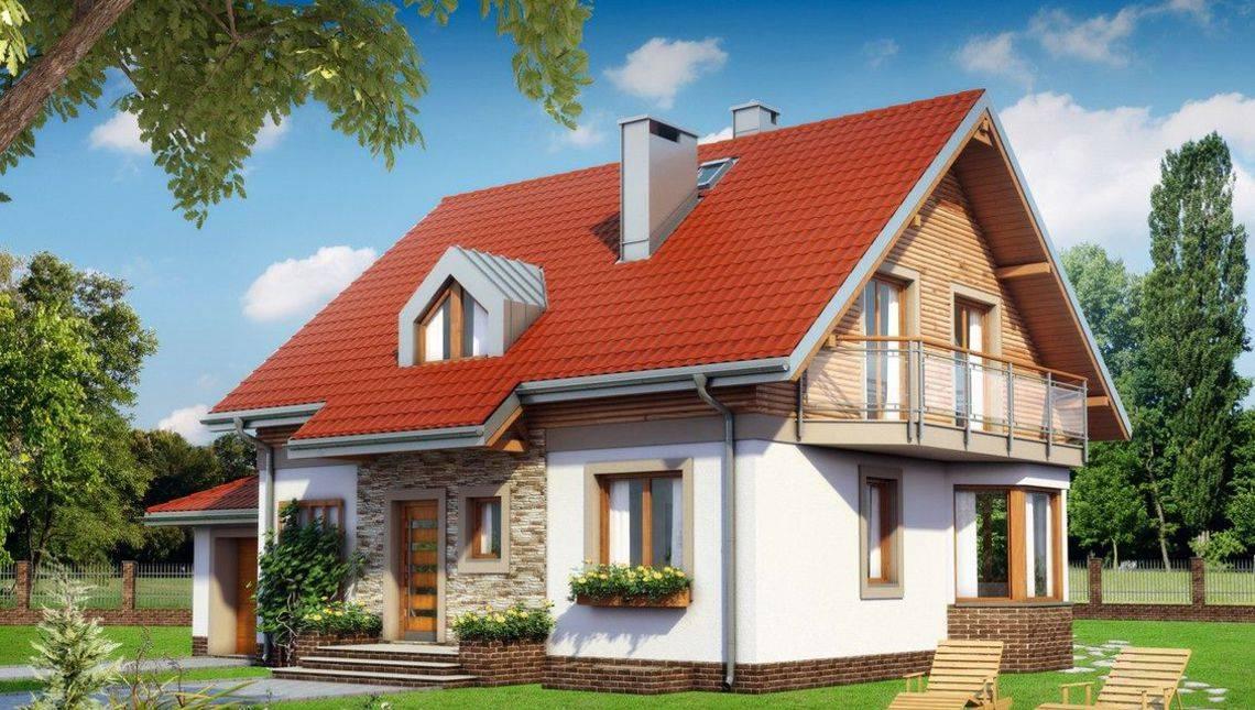 Загородная усадьба с компактным цокольным этажом и мансардой