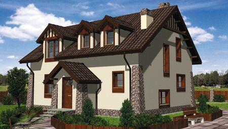 Оригинальный загородный дом с мансардным этажом площадью 140 m²