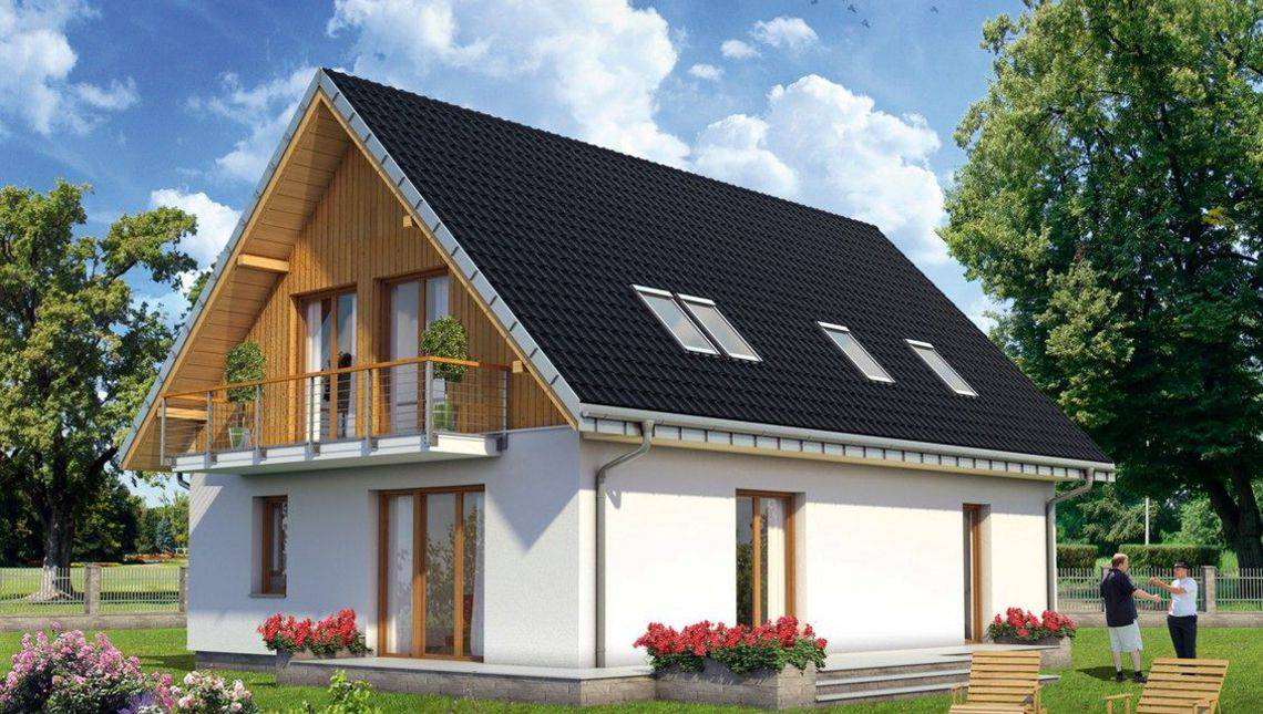 Проект красивой небольшой усадьбы с деревянной мансардой