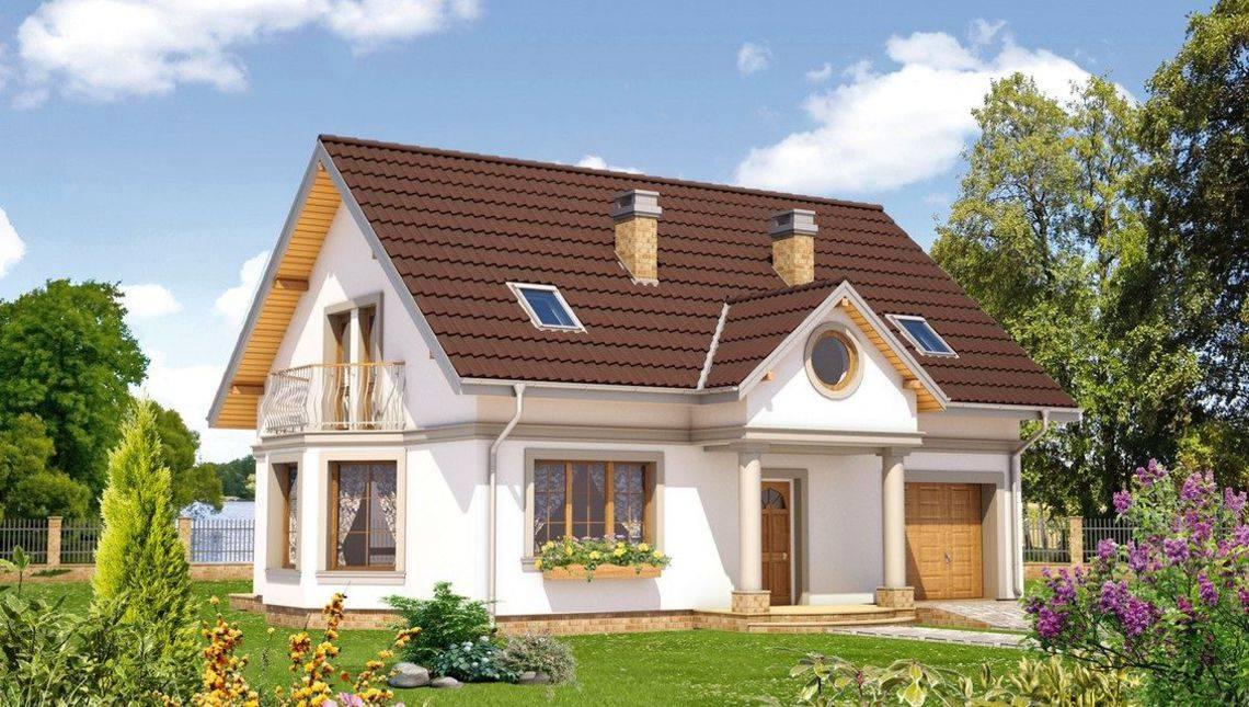 Архитектурный проект стильного дома с мансардой