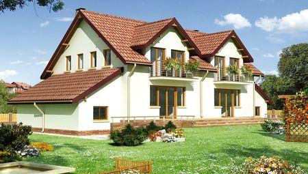 Архитектурный проект красивого дома с гаражом и мансардой