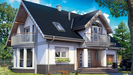 Архитектурный проект стильного коттеджа с изысканным эркером и балконами