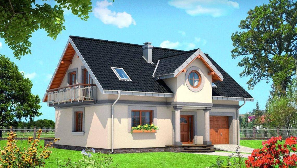 Архитектурный проект оригинального коттеджа с мансардой и выходом в сад