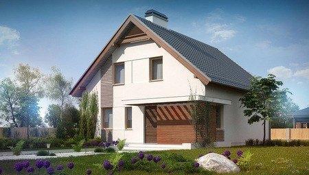 Проект дома с мансардой и эркером и двускатной крышей