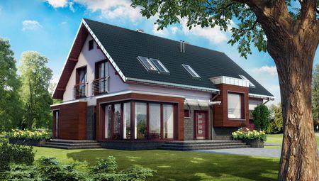 Мансардный дом с большими угловыми панорамными окнами