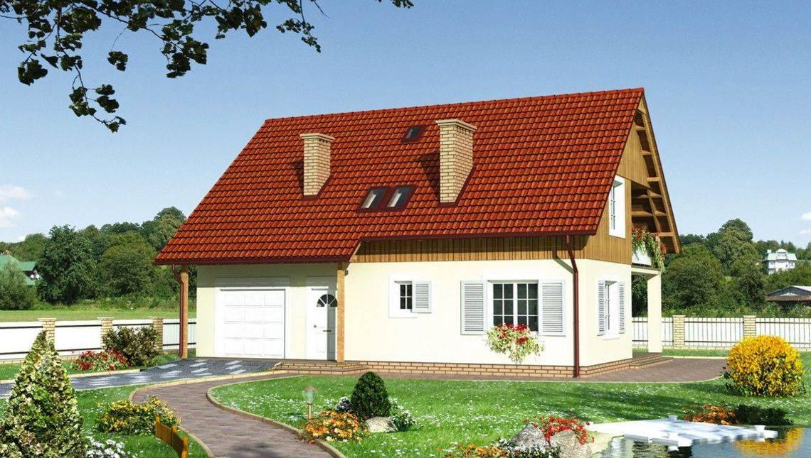 Строительный проект коттеджа более 200 m² с мансардой и гаражом на 1 машину