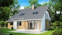 Проект загородного коттеджа с большими окнами