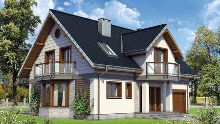 Красивый проект в классическом стиле дома с мансардой