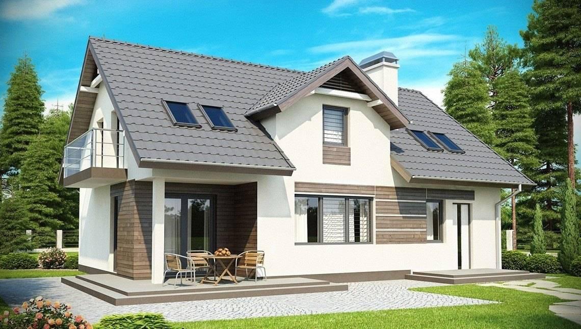 Проект просторного дома с гаражом, мансардой, хозяйственным помещением