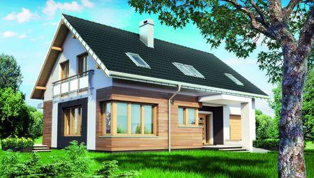 Проект мансардного дома с верандой