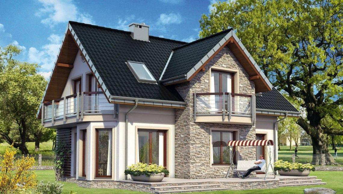 Традиционный проект дома до 150 m² с мансардой