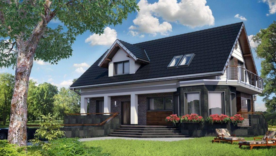 Проект дома с мансардой со строгим фасадом