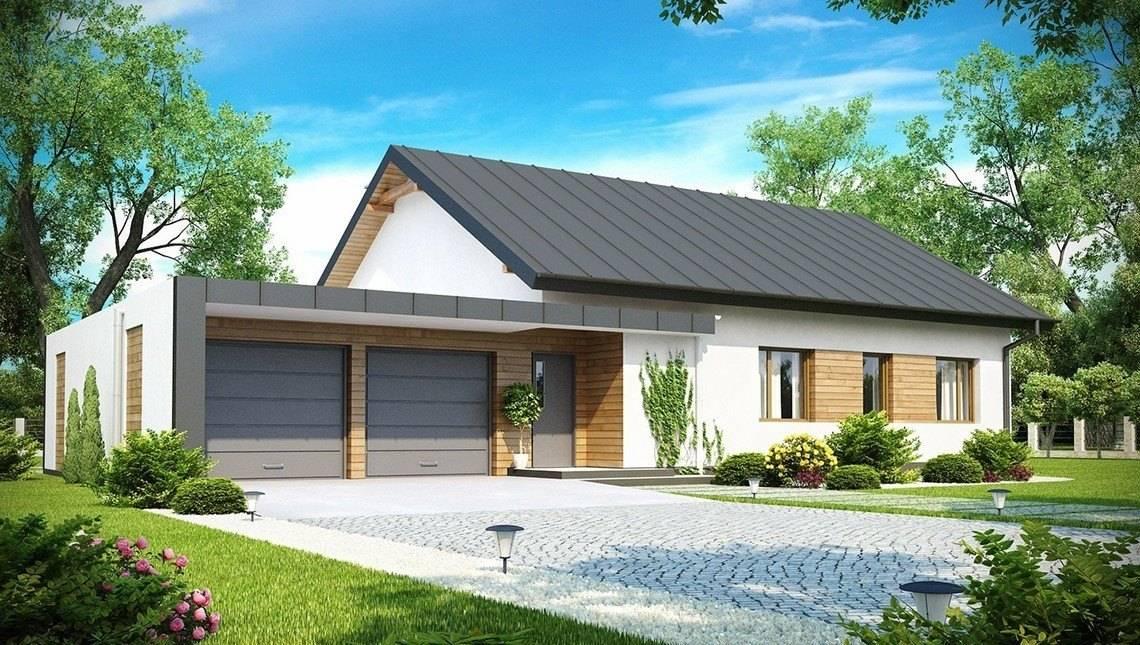 Проект одноэтажного классического коттеджа с боковым гаражом