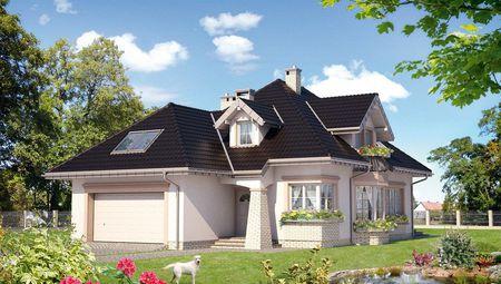 Дом с многоскатной крышей и гаражом для двух авто