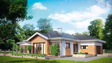 Красивый одноэтажный дом со встроенным гаражом для 2 машин