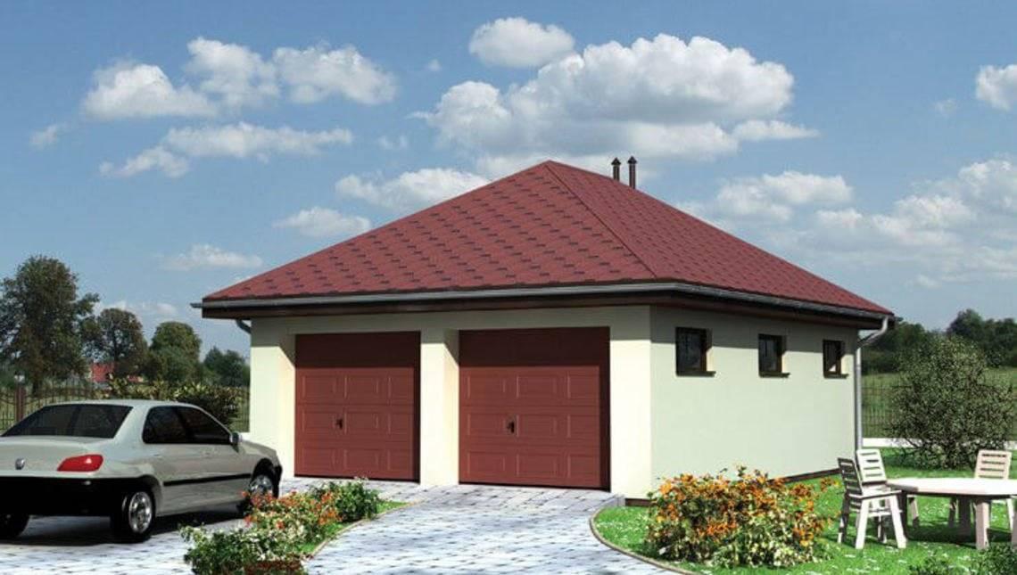 Проект двухместного гаража с хозяйственной комнатой