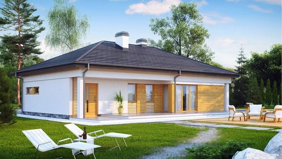 Функциональный проект одноэтажного коттеджа с гаражом для 2 автомобилей