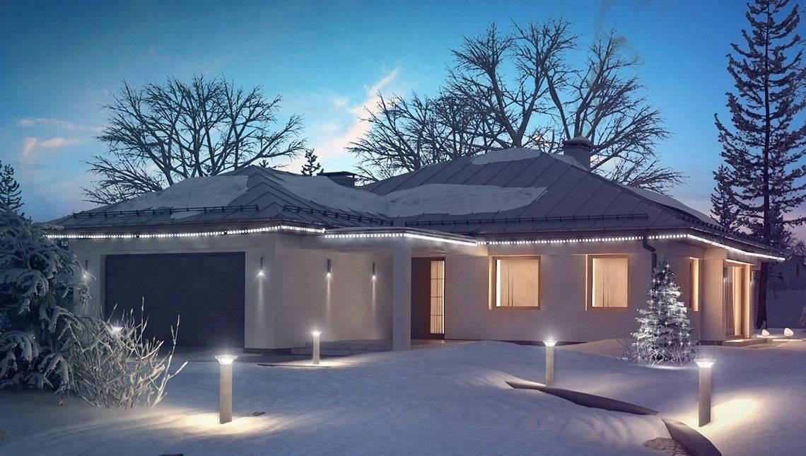 Классический проект 1-этажного дома с гаражом на две машины