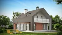 Проект практичного коттеджа с оригинальной мансардой и кирпичным фасадом